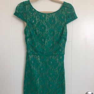 Green lace mini dress